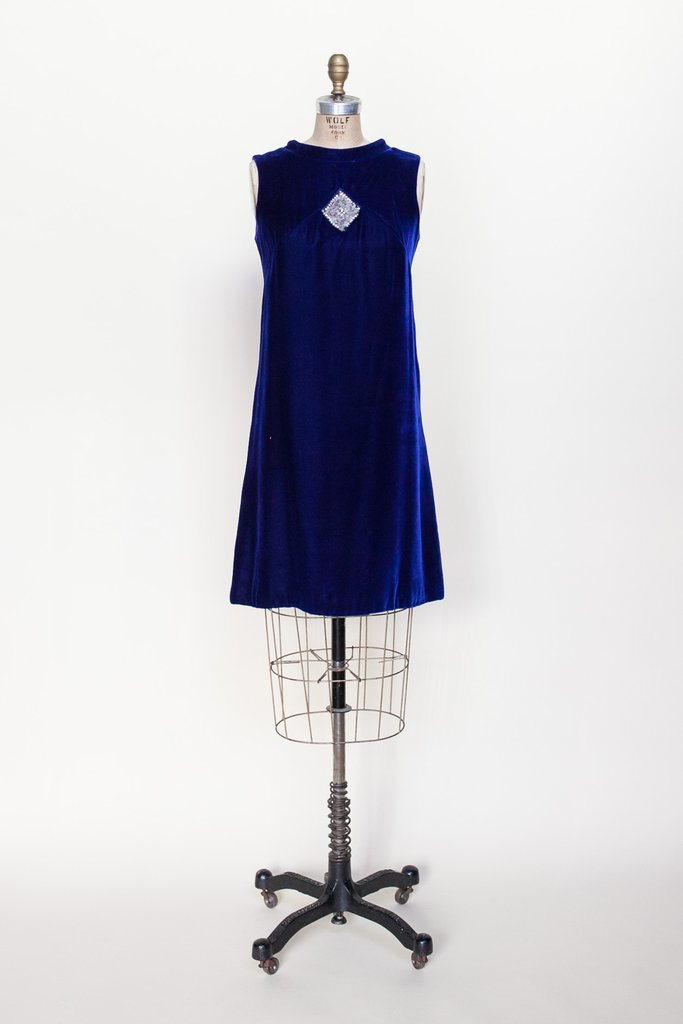 1960s blue velvet dress from Dalena Vintage